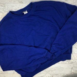 H&M Divided Crew Neck Fleece Blue Sweatshirt